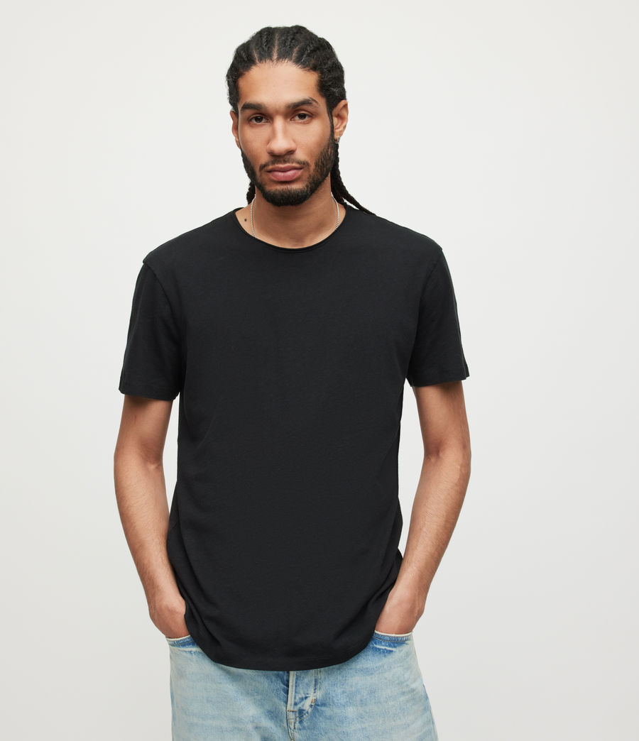 Uomo T-shirt Figure - In cotone con cuciture in rilievo (jet_black) - Image 1