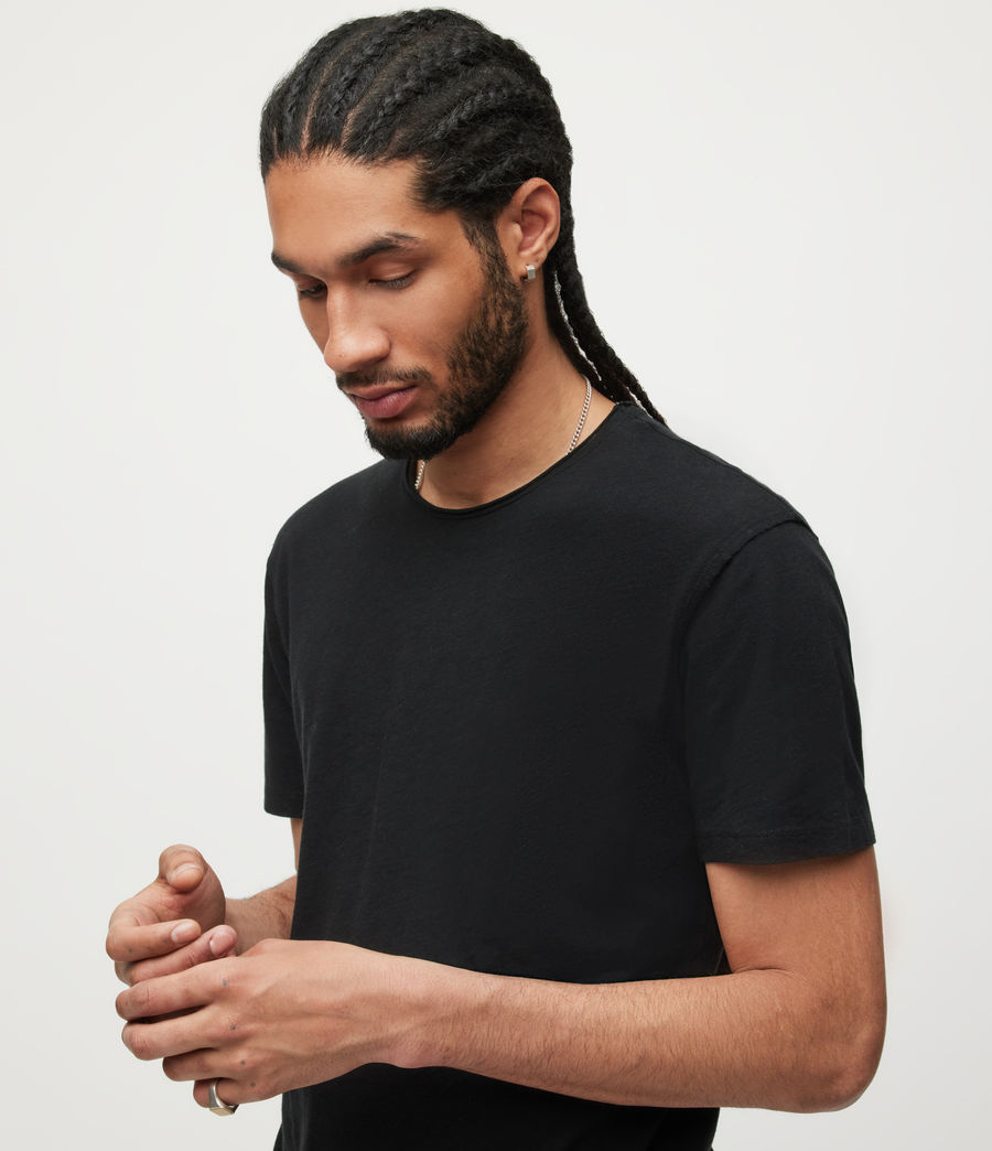 Uomo T-shirt Figure - In cotone con cuciture in rilievo (jet_black) - Image 2