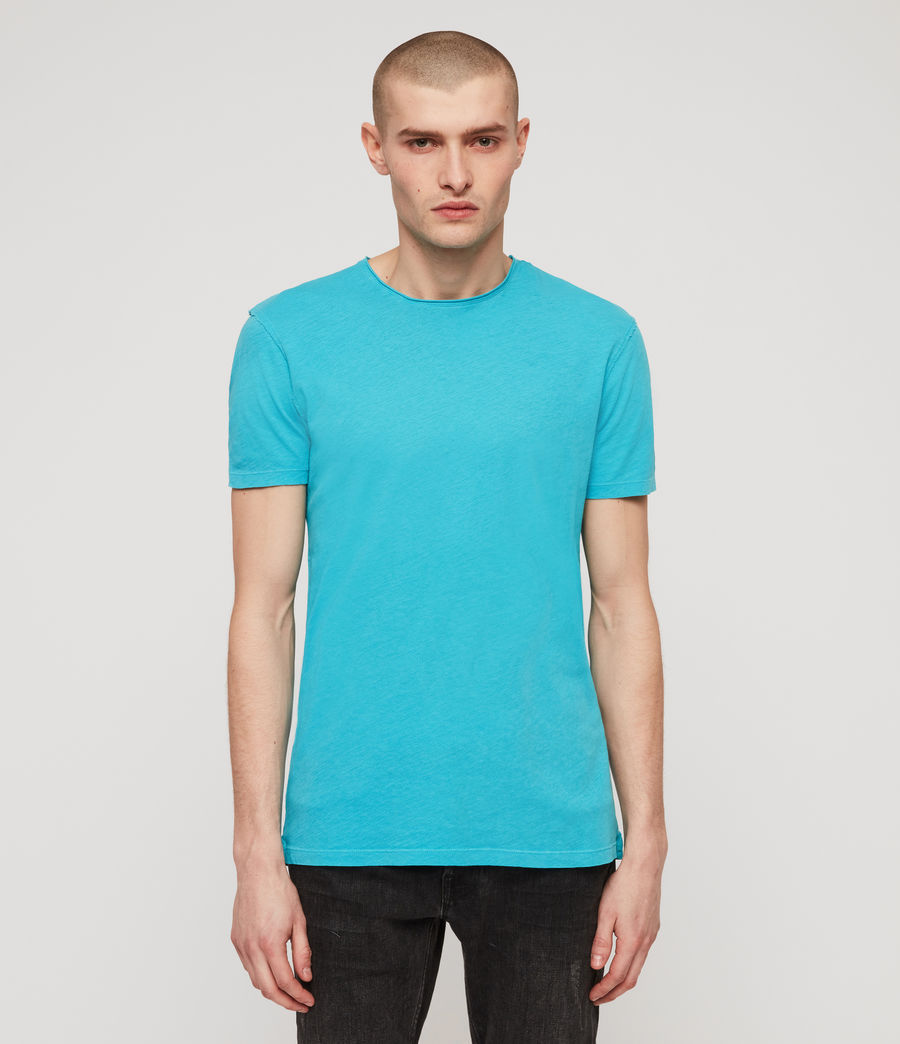 Uomo T-shirt Figure - In cotone con cuciture in rilievo (tropicana_blue) - Image 1