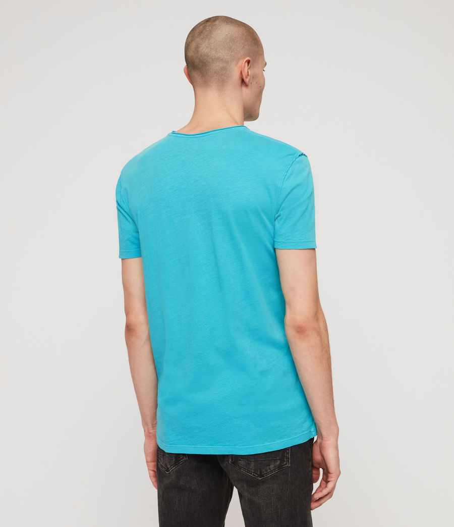 Uomo T-shirt Figure - In cotone con cuciture in rilievo (tropicana_blue) - Image 6