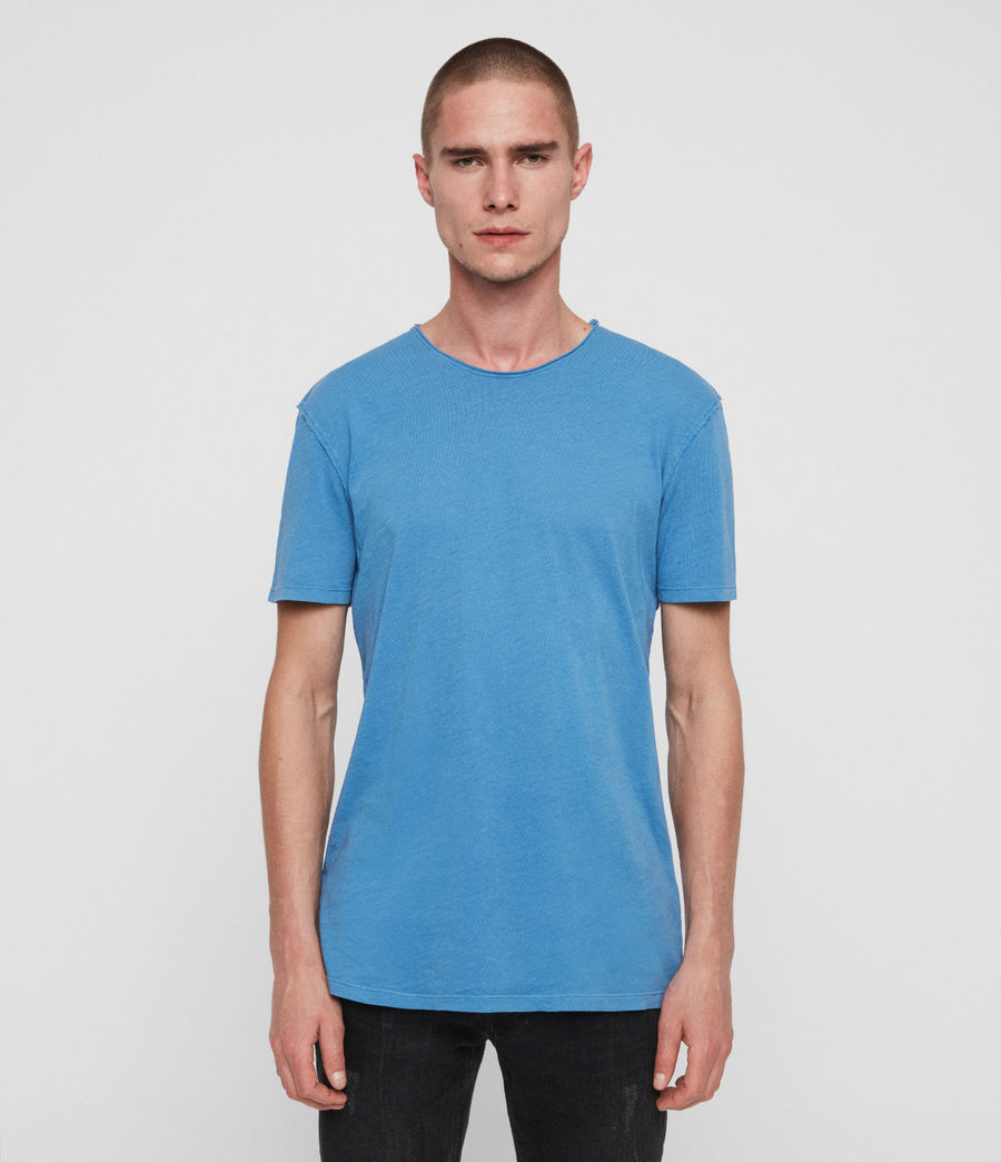 Uomo T-shirt Figure - In cotone con cuciture in rilievo (atlantic_blue) - Image 1