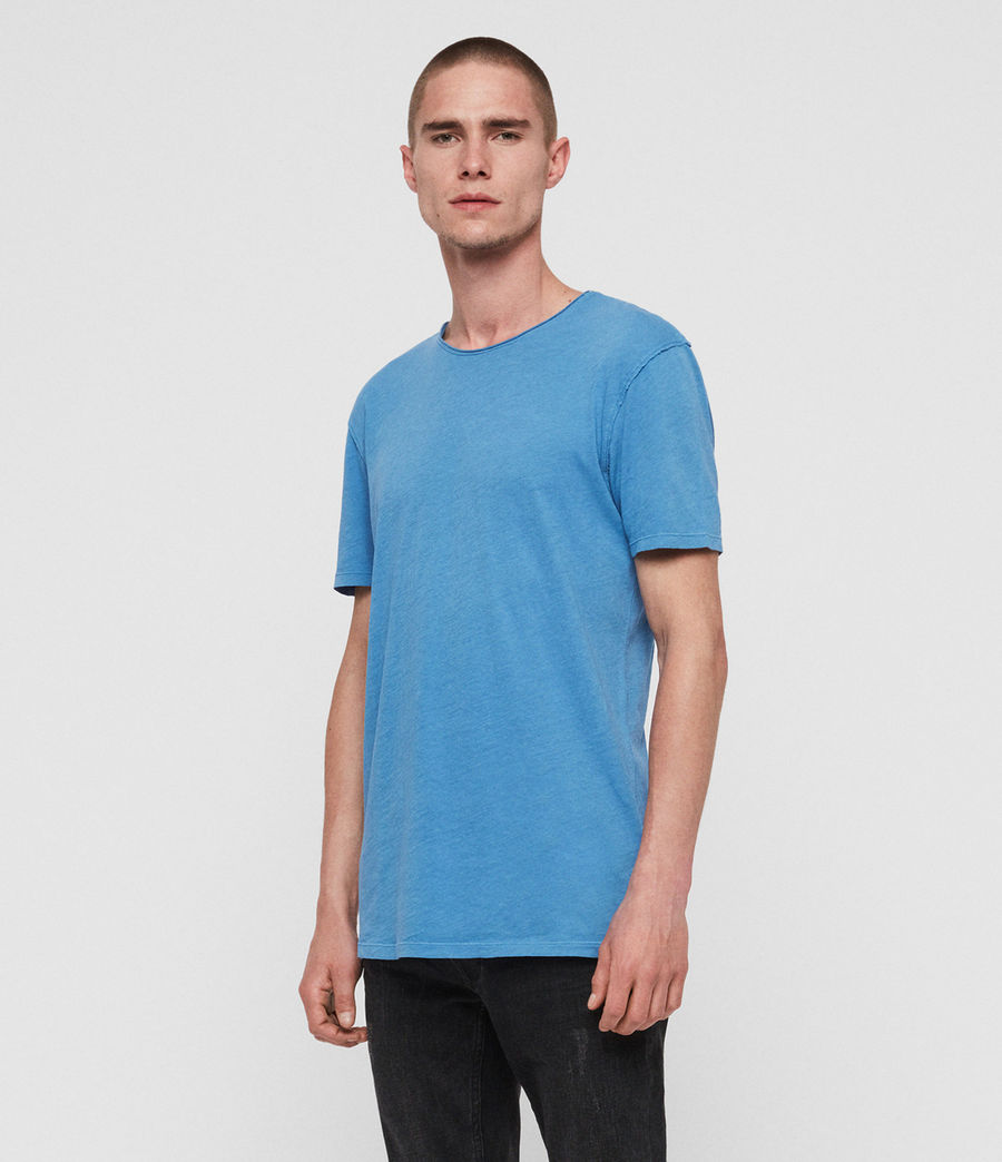 Uomo T-shirt Figure - In cotone con cuciture in rilievo (atlantic_blue) - Image 2