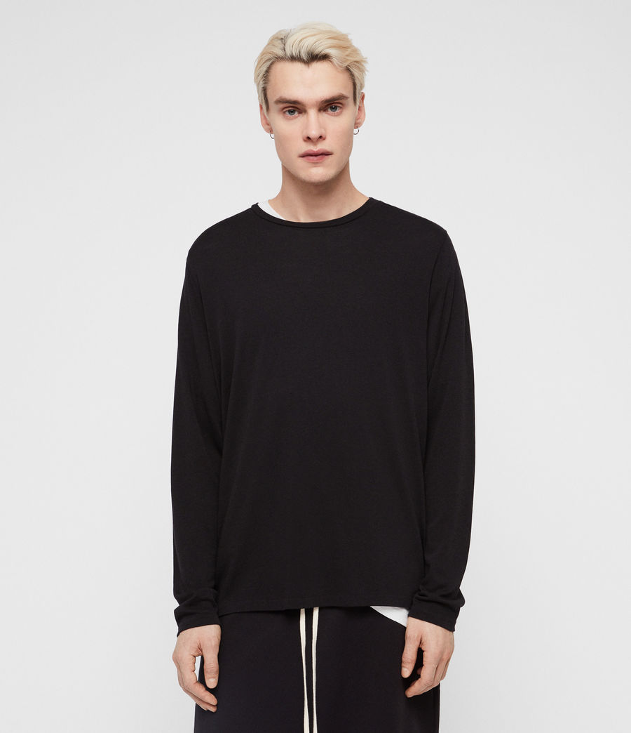 Mens Pluto Long Sleeve Crew T-Shirt (jet_black) - Image 1