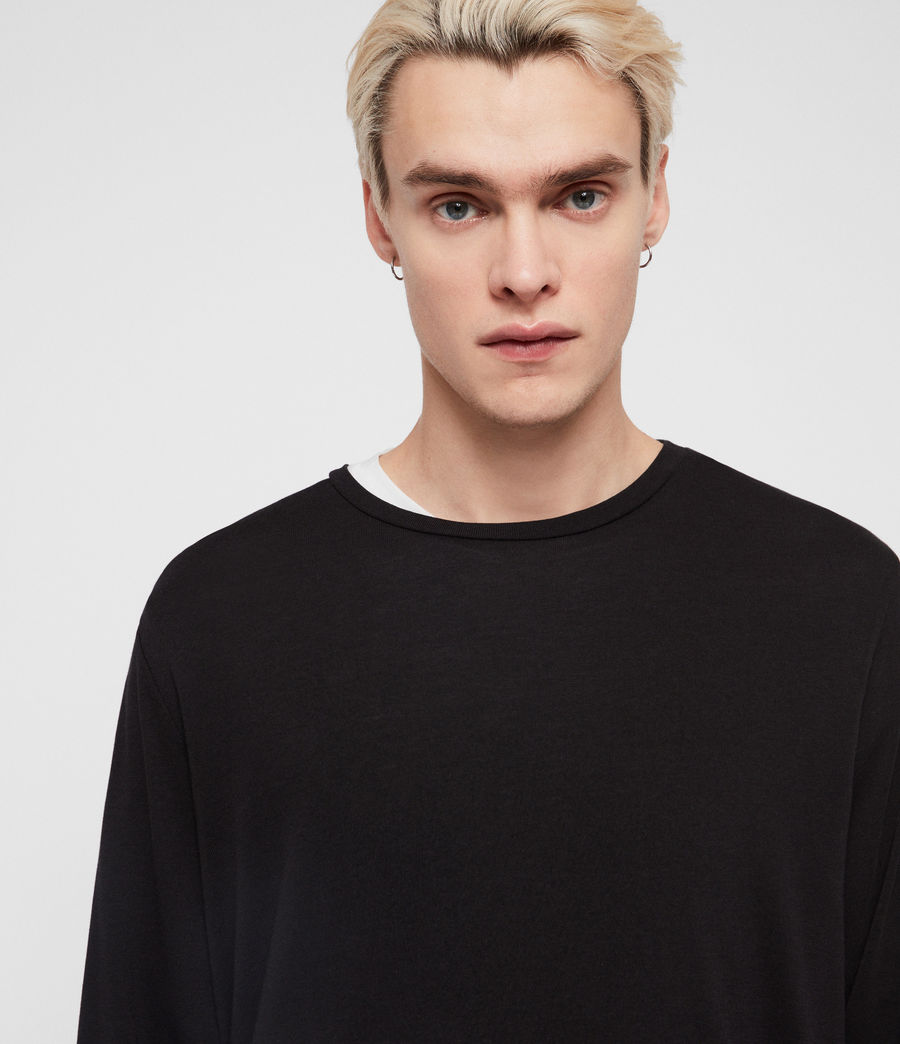 Mens Pluto Long Sleeve Crew T-Shirt (jet_black) - Image 2