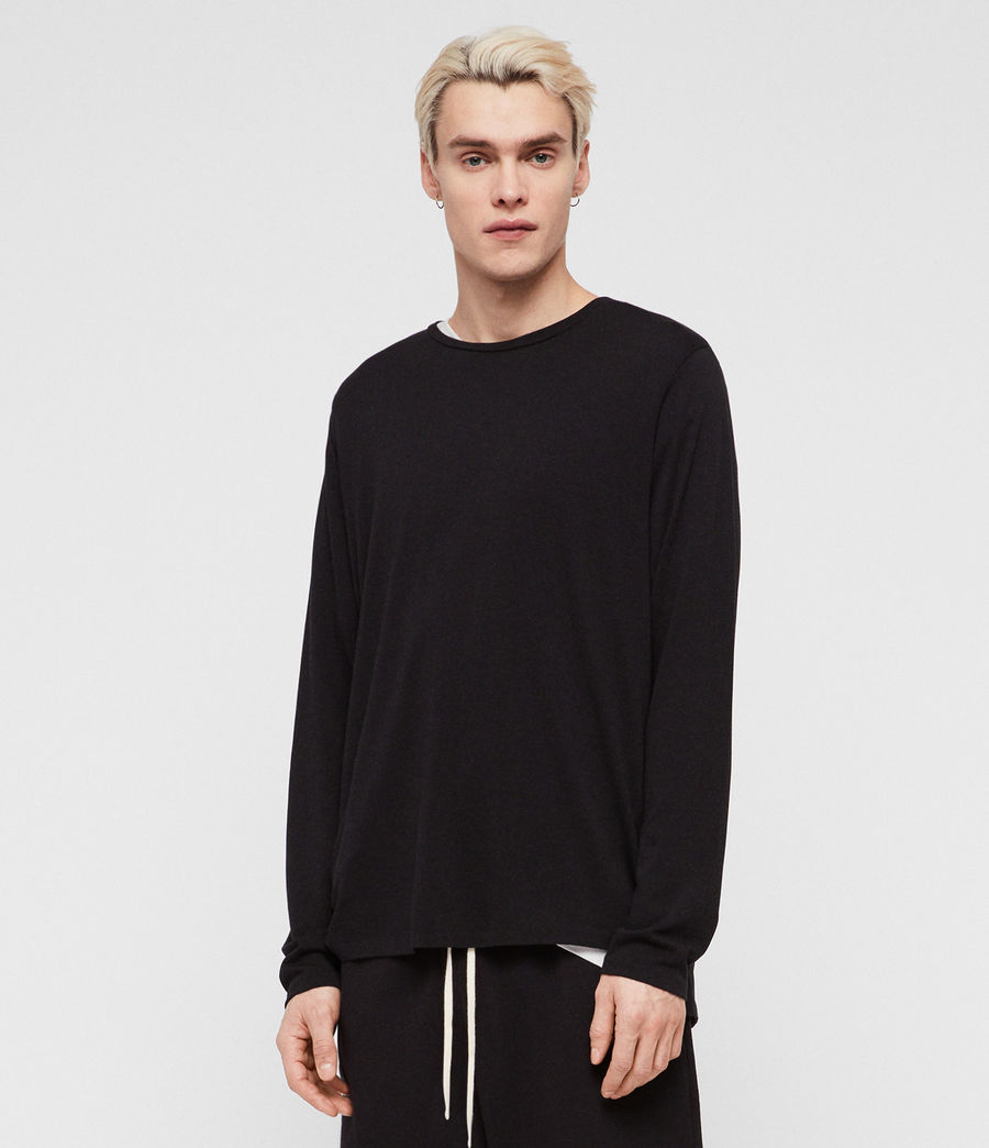 Mens Pluto Long Sleeve Crew T-Shirt (jet_black) - Image 3