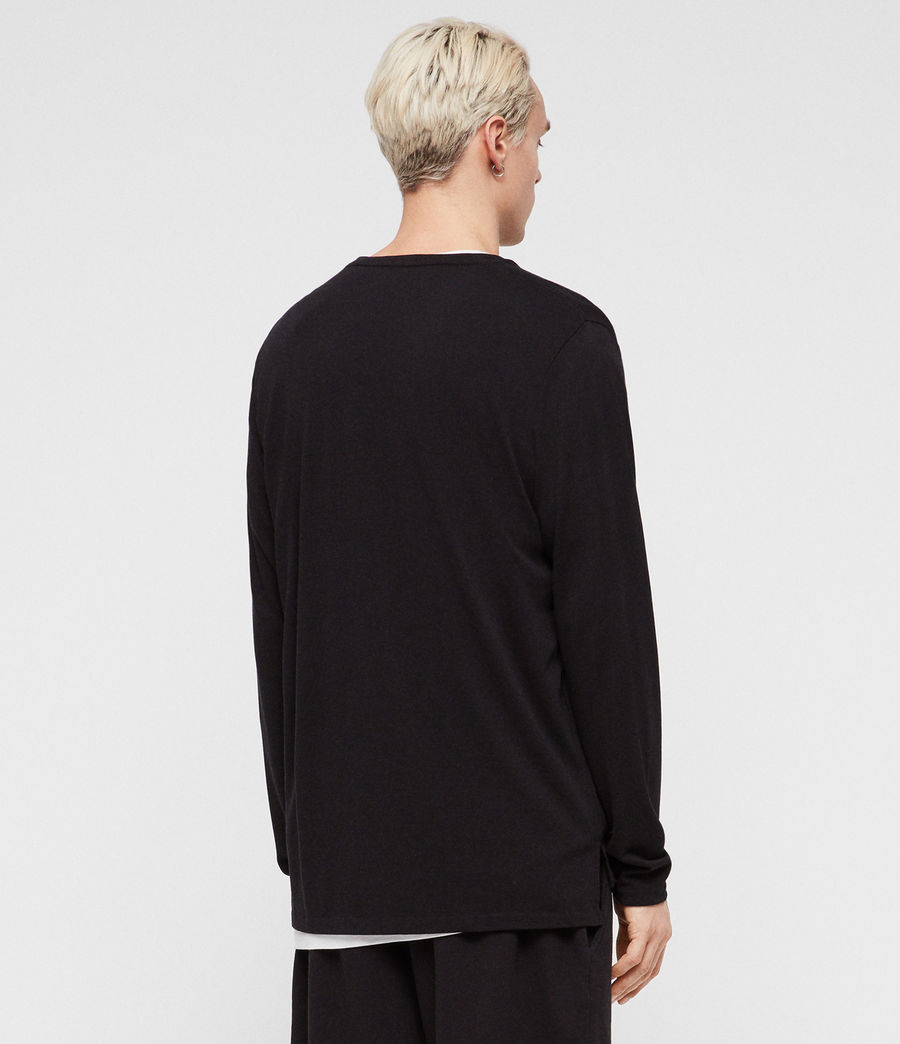 Mens Pluto Long Sleeve Crew T-Shirt (jet_black) - Image 4