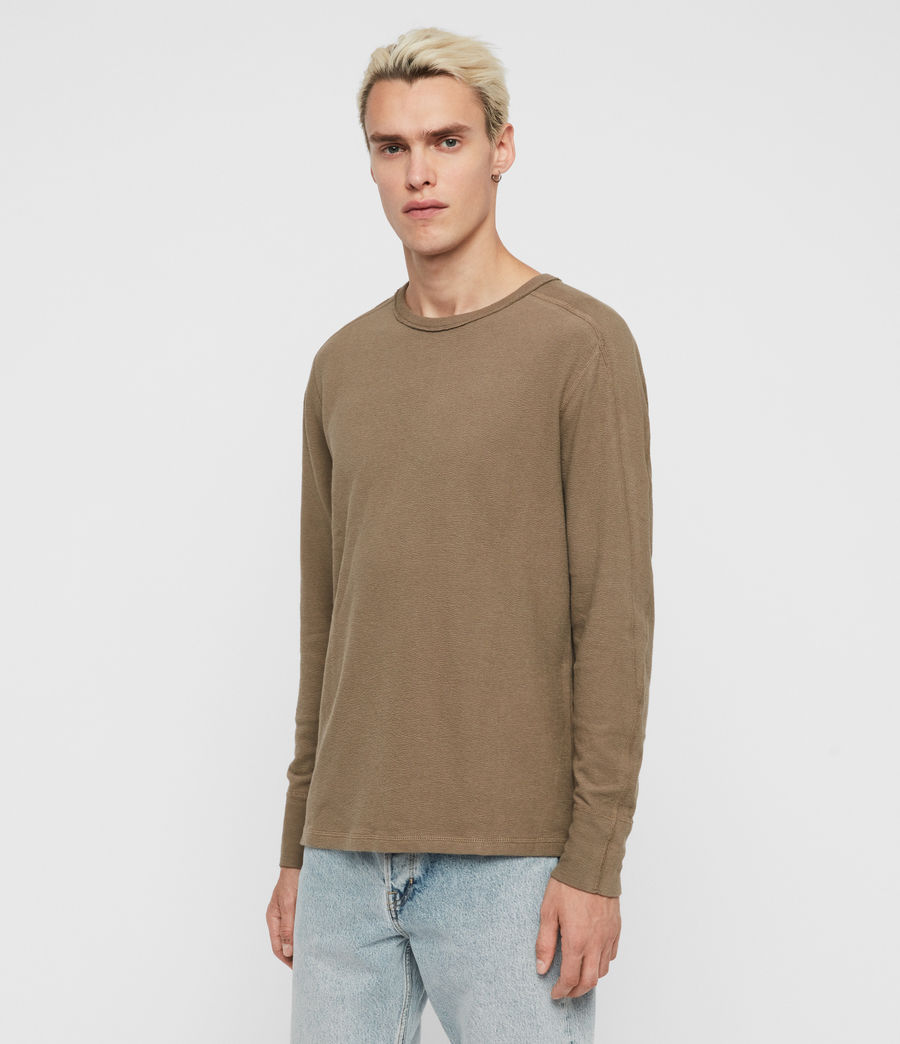 Mens Gavin Long Sleeve Crew T-Shirt (beech_green) - Image 4