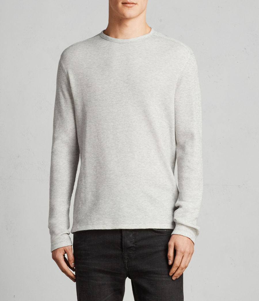 Herren Clan Long Sleeve Crew T-Shirt (GRY MARL/CHALK WHT) - Image 1