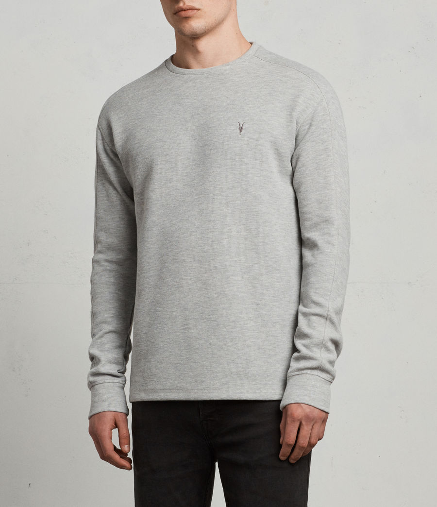 Mens Kruse Long Sleeve Crew Sweatshirt (Grey Marl) - Image 3