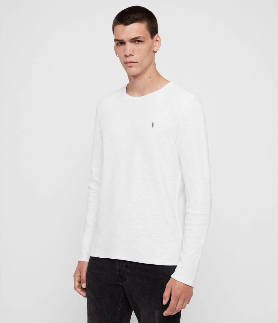 Mens Muse Long Sleeve Crew T-Shirt (optic_white) - Image 4