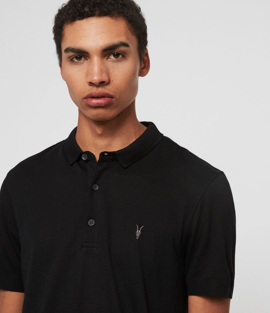 Herren Parlour Short Sleeve Polo Shirt (jet_black) - Image 3