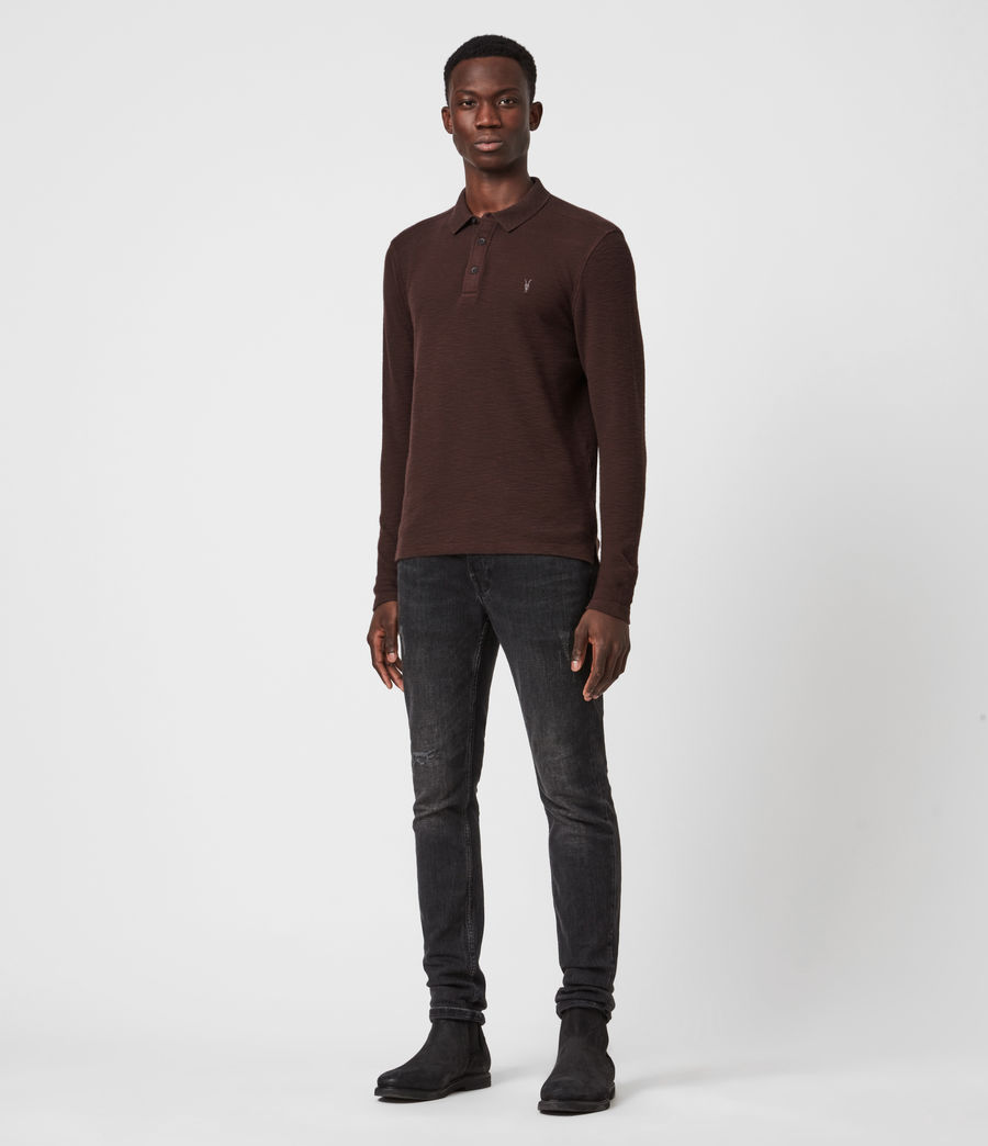 Men's Muse Long Sleeve Polo Shirt (flint_grey) - Image 6