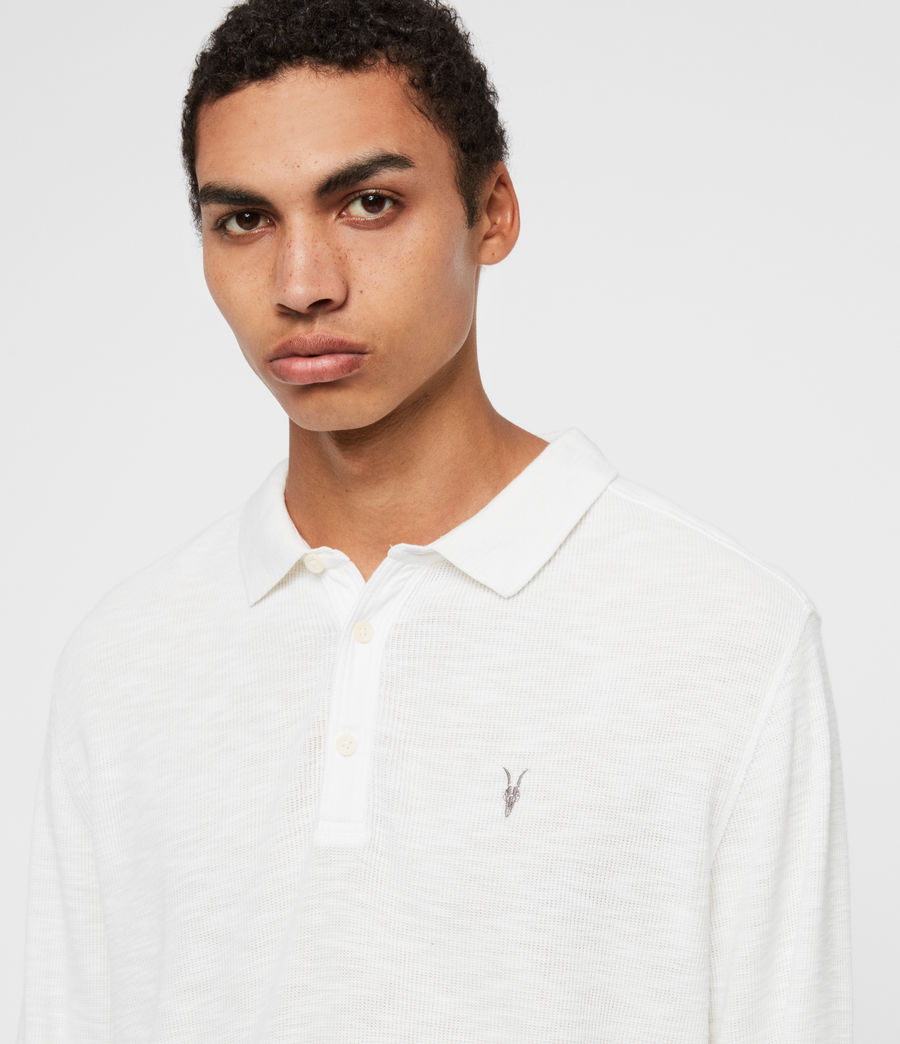 Men's Muse Long Sleeve Polo Shirt (optic_white) - Image 1