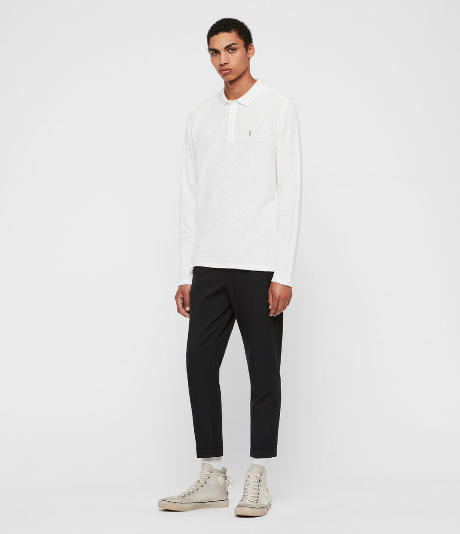 Men's Muse Long Sleeve Polo Shirt (optic_white) - Image 2