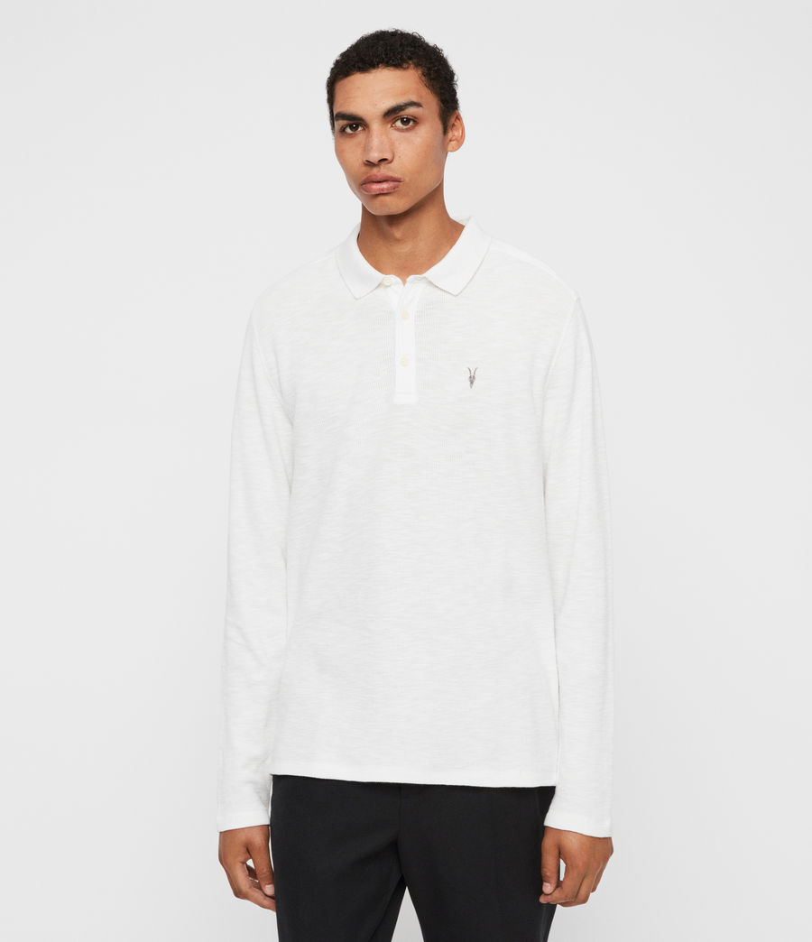 Men's Muse Long Sleeve Polo Shirt (optic_white) - Image 3