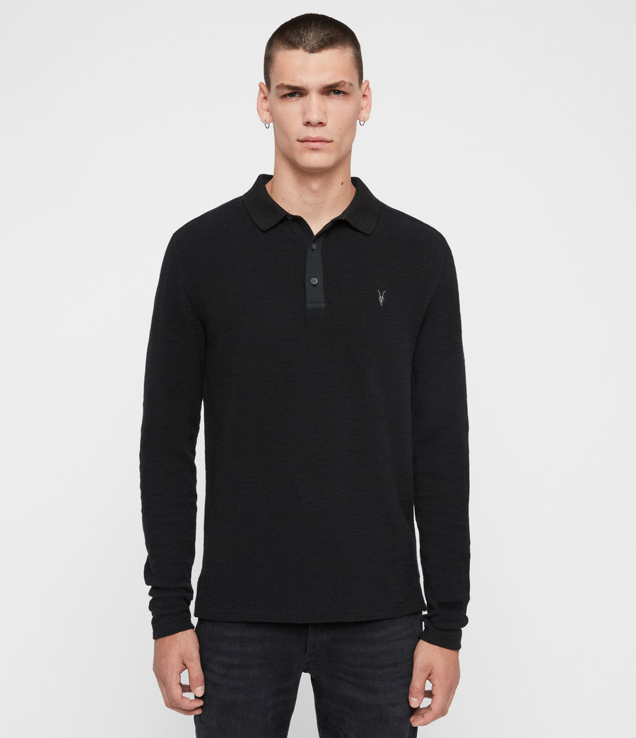 Men's Muse Long Sleeve Polo Shirt (jet_black) - Image 1
