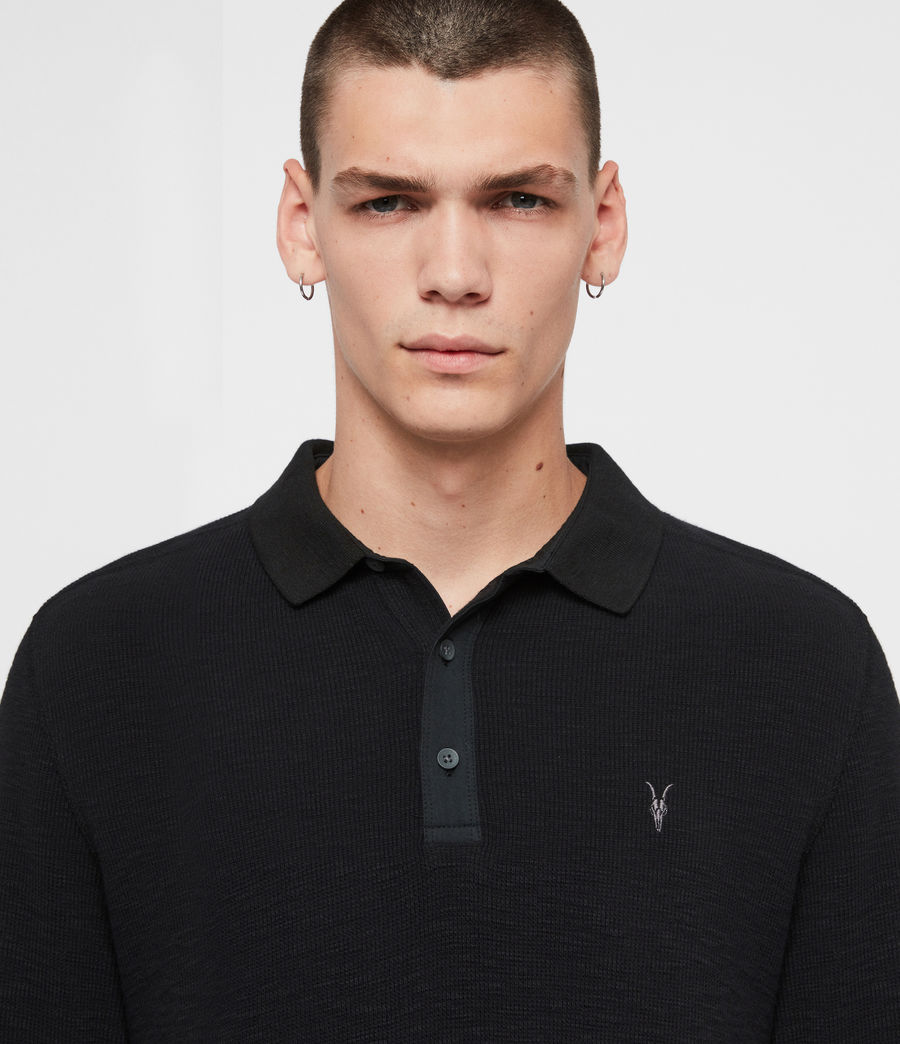 Men's Muse Long Sleeve Polo Shirt (jet_black) - Image 2