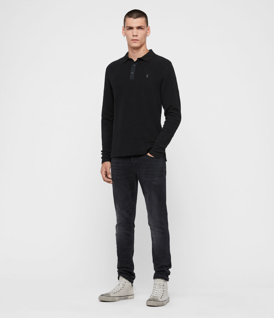 Men's Muse Long Sleeve Polo Shirt (jet_black) - Image 3