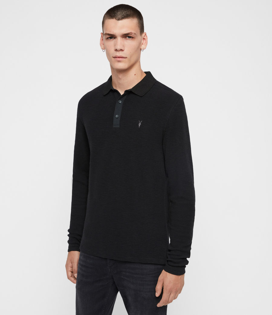 Men's Muse Long Sleeve Polo Shirt (jet_black) - Image 4