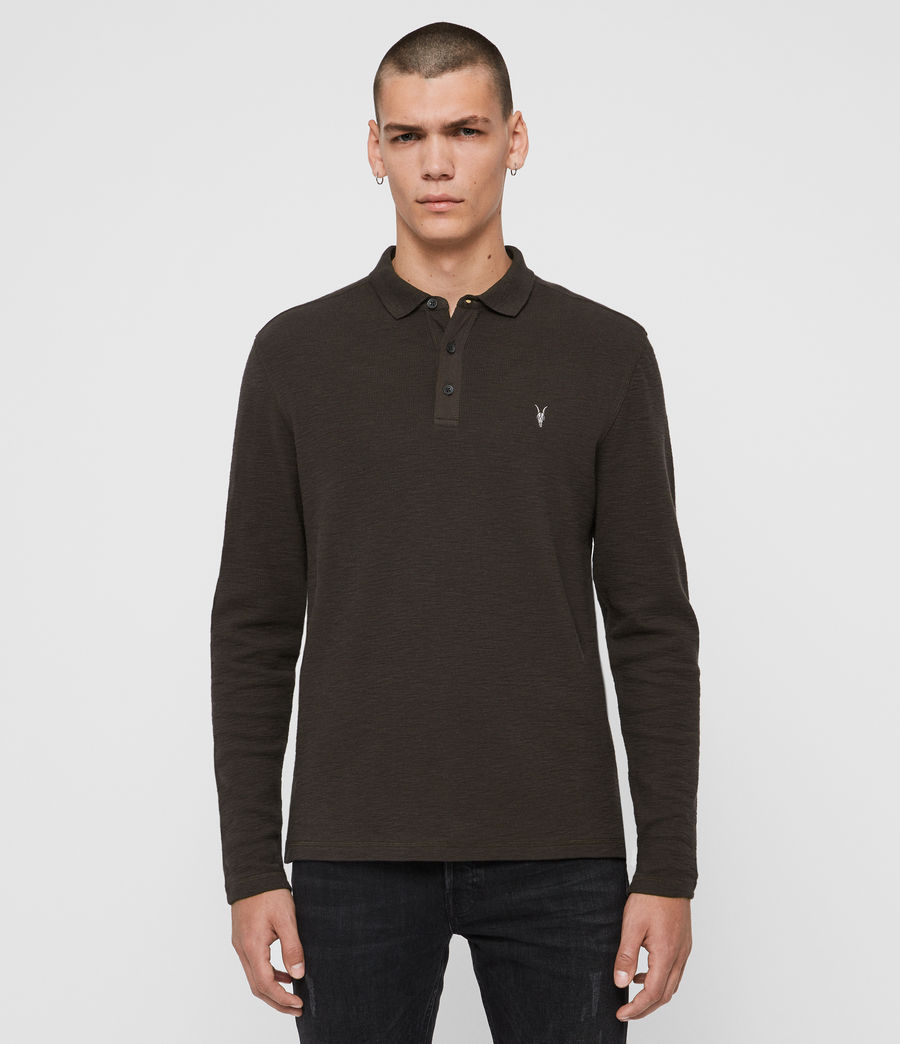 Uomo Polo Muse - Slim in cotone a maniche lunghe (coal_grey) - Image 1