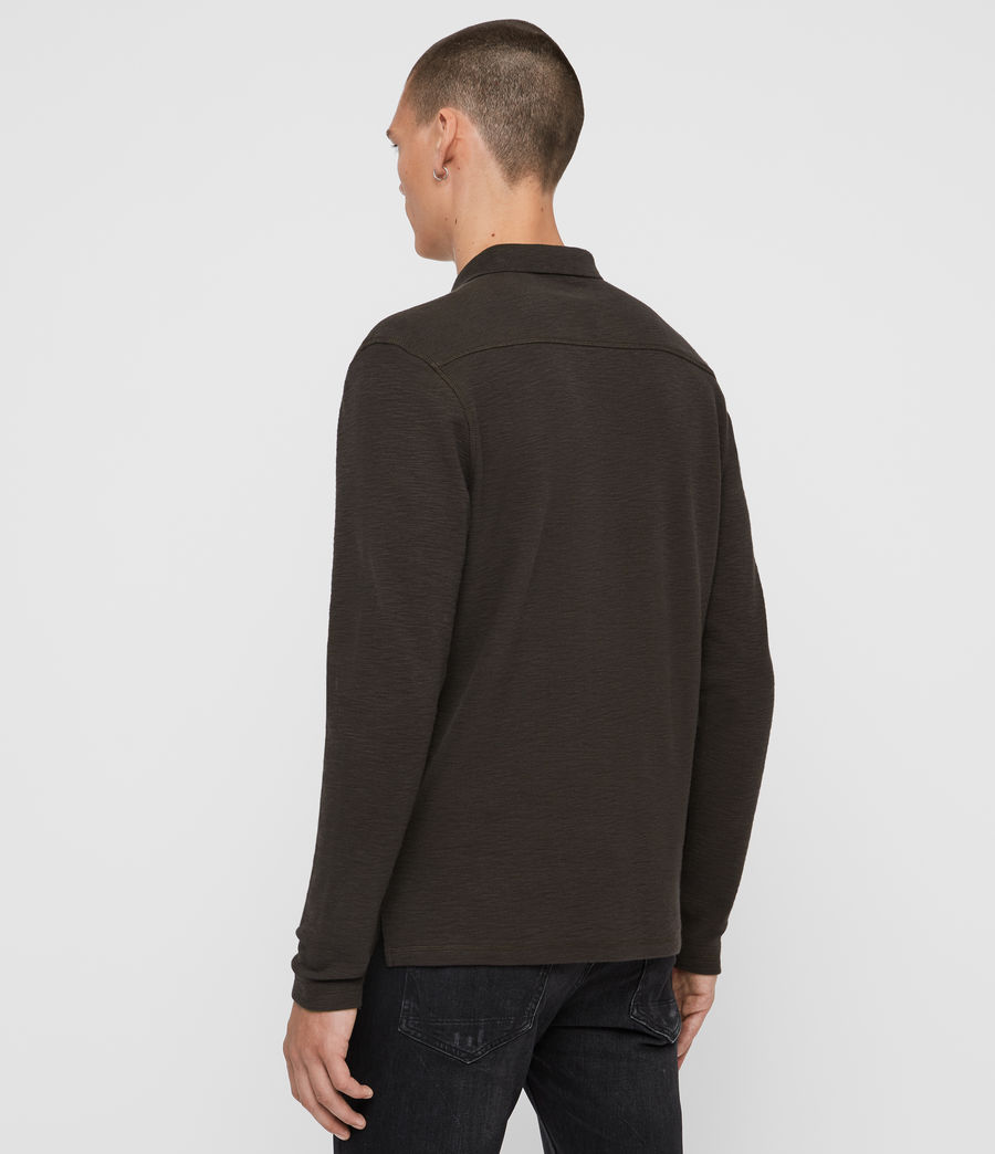 Uomo Polo Muse - Slim in cotone a maniche lunghe (coal_grey) - Image 4