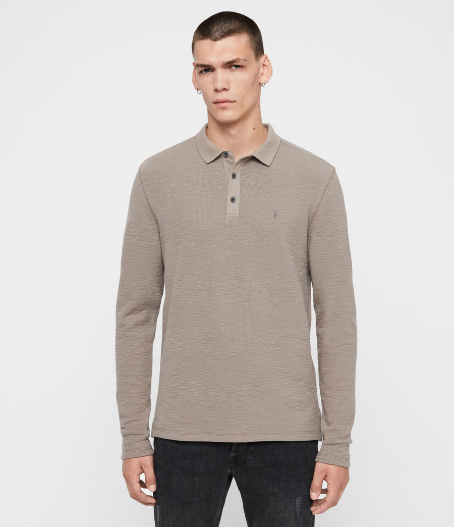 Men's Muse Long Sleeve Polo Shirt (coal_grey) - Image 1