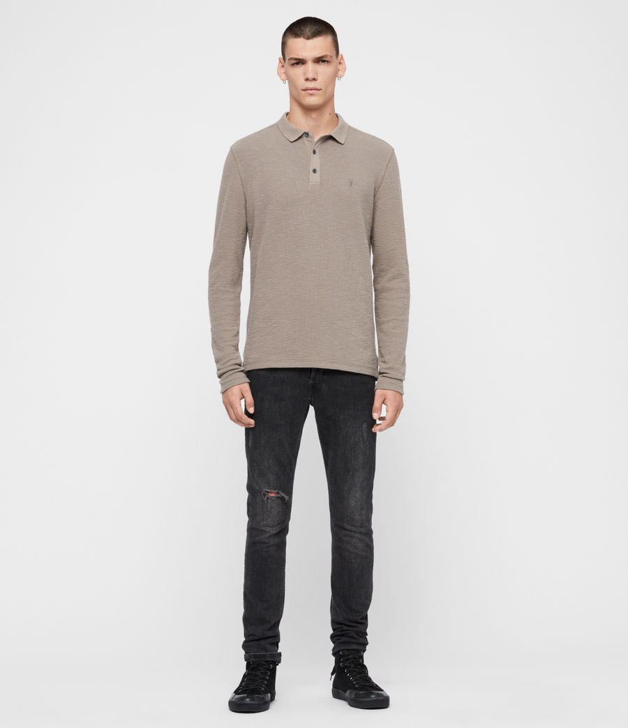 Men's Muse Long Sleeve Polo Shirt (coal_grey) - Image 3