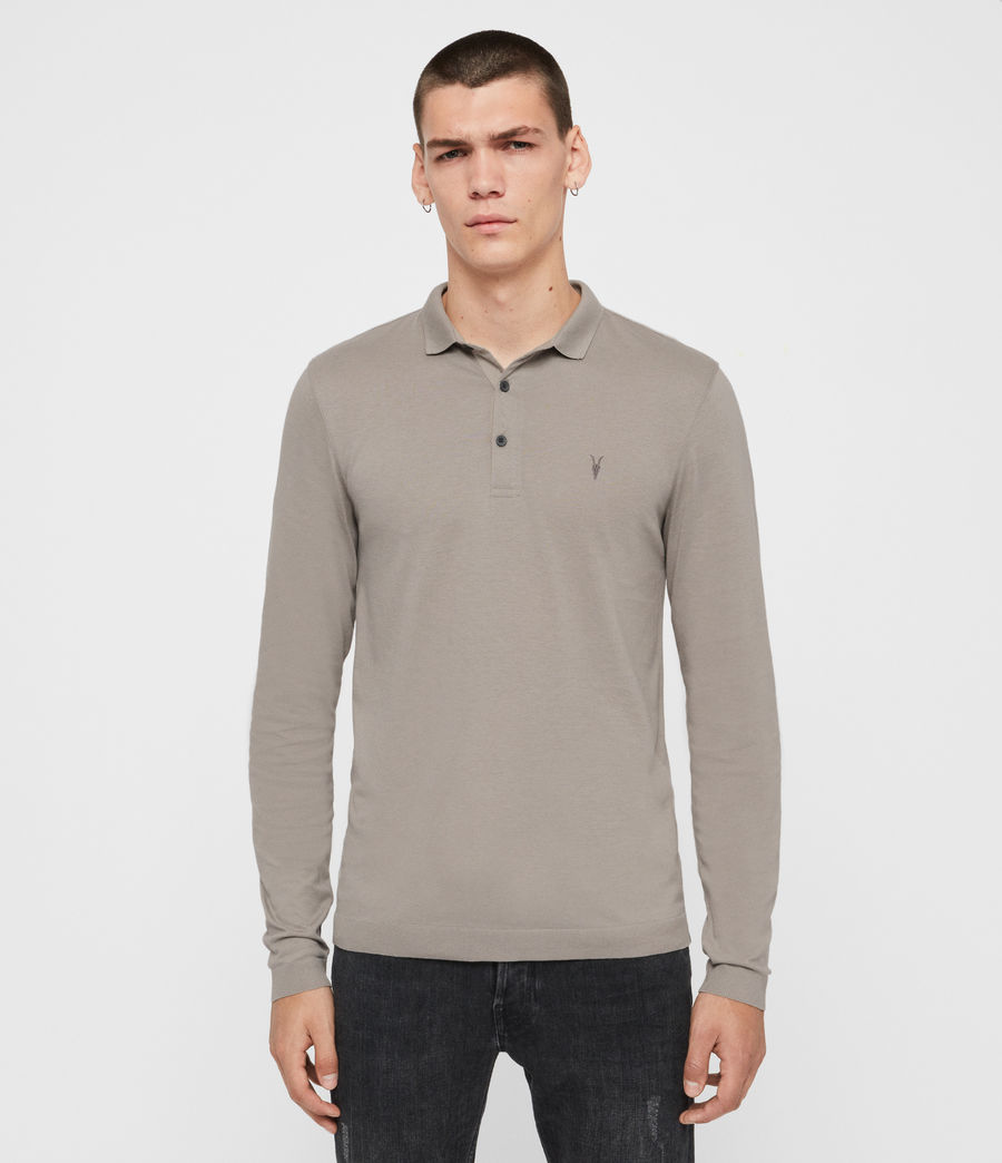 Men's Parlour Long Sleeve Polo Shirt (cement_grey) - Image 1