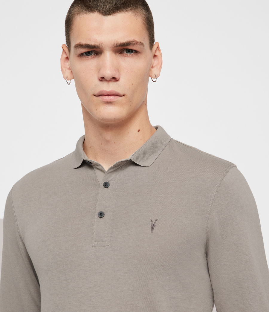 Men's Parlour Long Sleeve Polo Shirt (cement_grey) - Image 2
