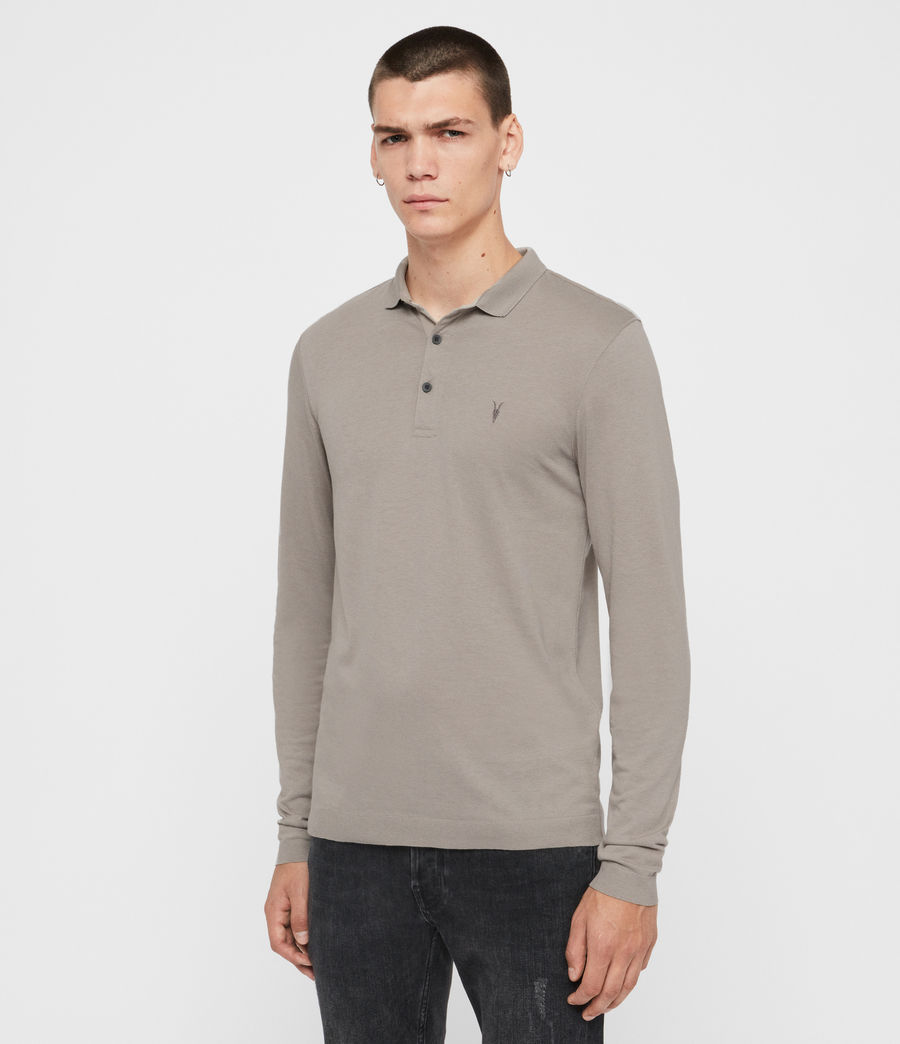 Men's Parlour Long Sleeve Polo Shirt (cement_grey) - Image 3