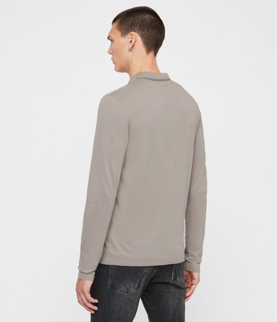 Men's Parlour Long Sleeve Polo Shirt (cement_grey) - Image 4