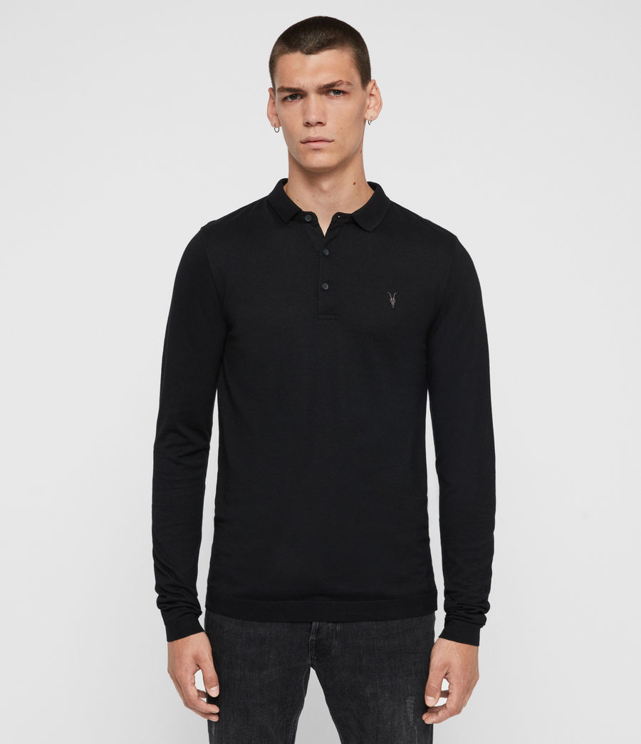 Men's Parlour Long Sleeve Polo Shirt (jet_black) - Image 1