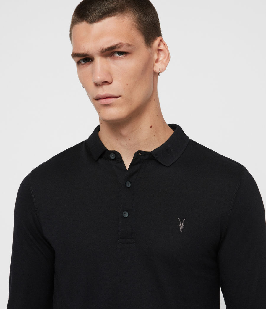 Men's Parlour Long Sleeve Polo Shirt (jet_black) - Image 2