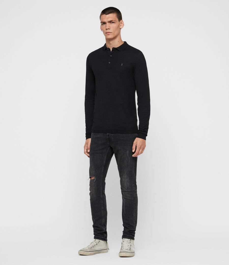 Men's Parlour Long Sleeve Polo Shirt (jet_black) - Image 3