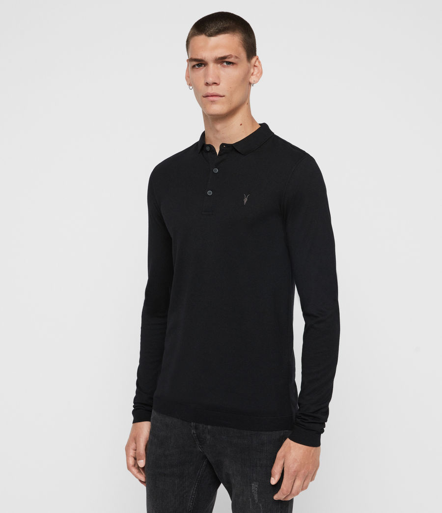 Men's Parlour Long Sleeve Polo Shirt (jet_black) - Image 4