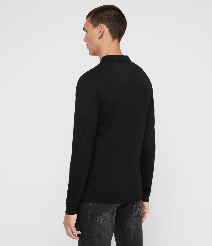 Men's Parlour Long Sleeve Polo Shirt (jet_black) - Image 5