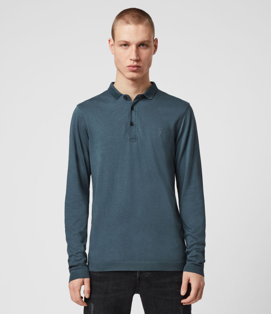 Hommes Parlour Long Sleeve Polo Shirt (vault_blue) - Image 1