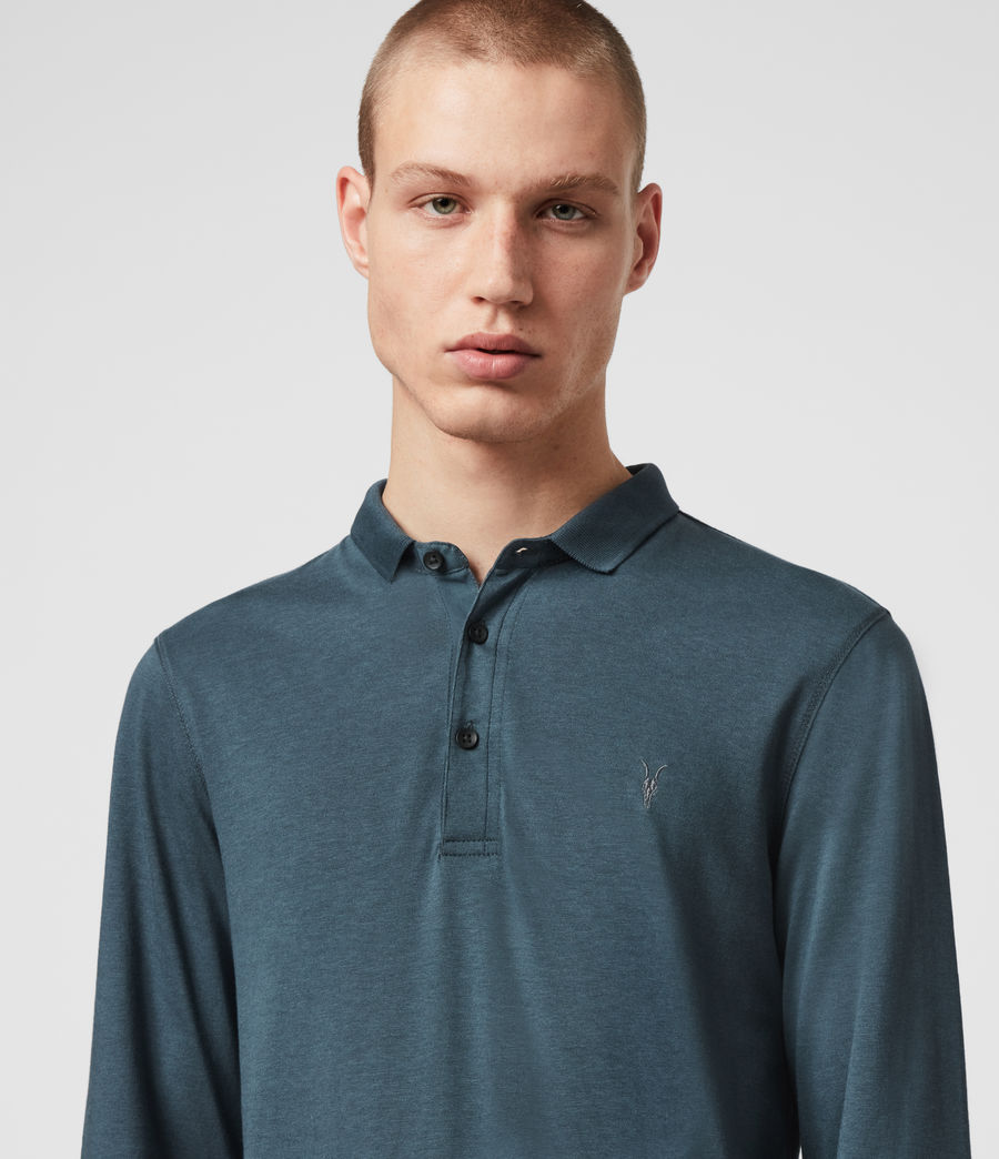 Hommes Parlour Long Sleeve Polo Shirt (vault_blue) - Image 2