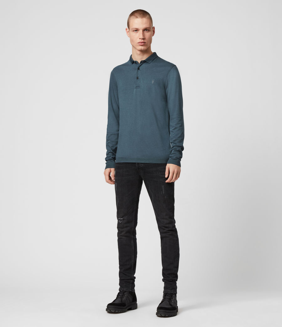 Hommes Parlour Long Sleeve Polo Shirt (vault_blue) - Image 3