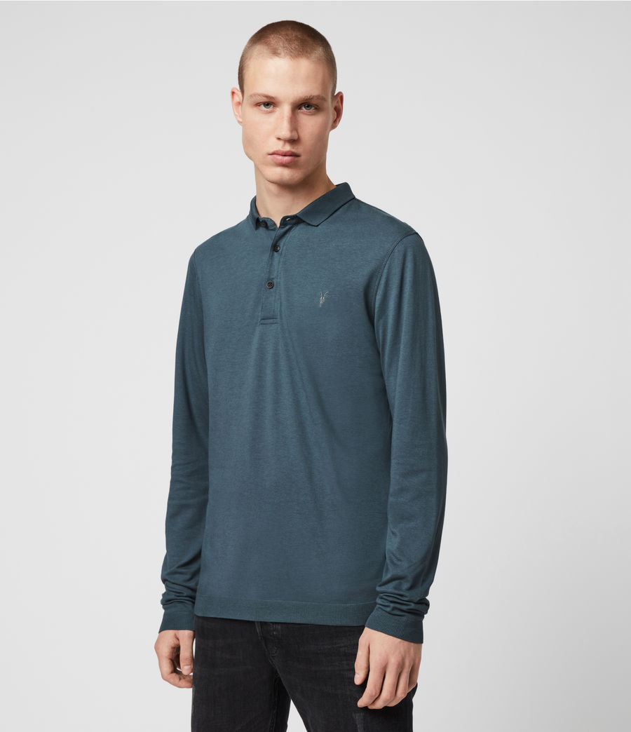 Hommes Parlour Long Sleeve Polo Shirt (vault_blue) - Image 4
