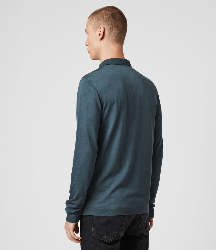 Hommes Parlour Long Sleeve Polo Shirt (vault_blue) - Image 5