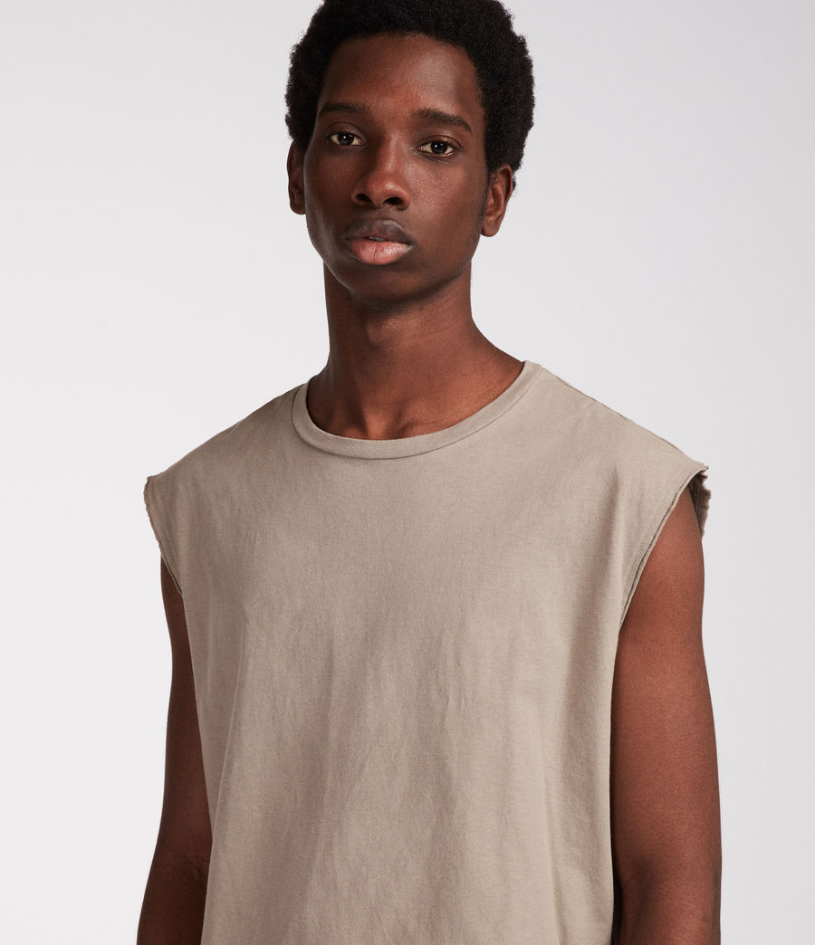 Men's Heton Sleeveless Crew T-Shirt (putty_grey) - Image 2