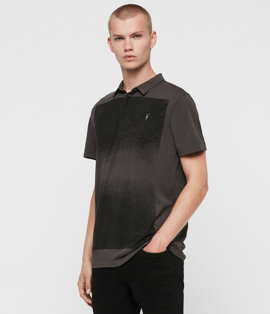 Men's Rufus Short Sleeve Polo Shirt (washed_black) - Image 3