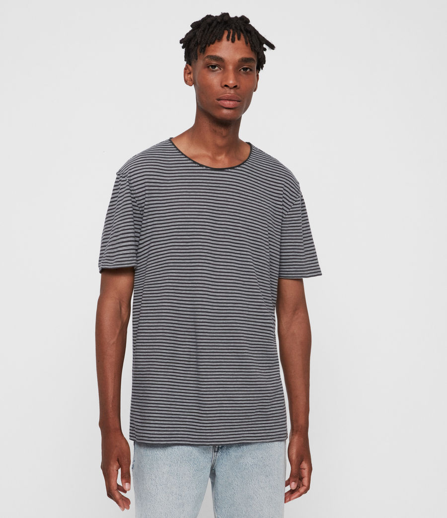 Hommes T-Shirt Rayé à Manches Courtes Elliot (black_white) - Image 1