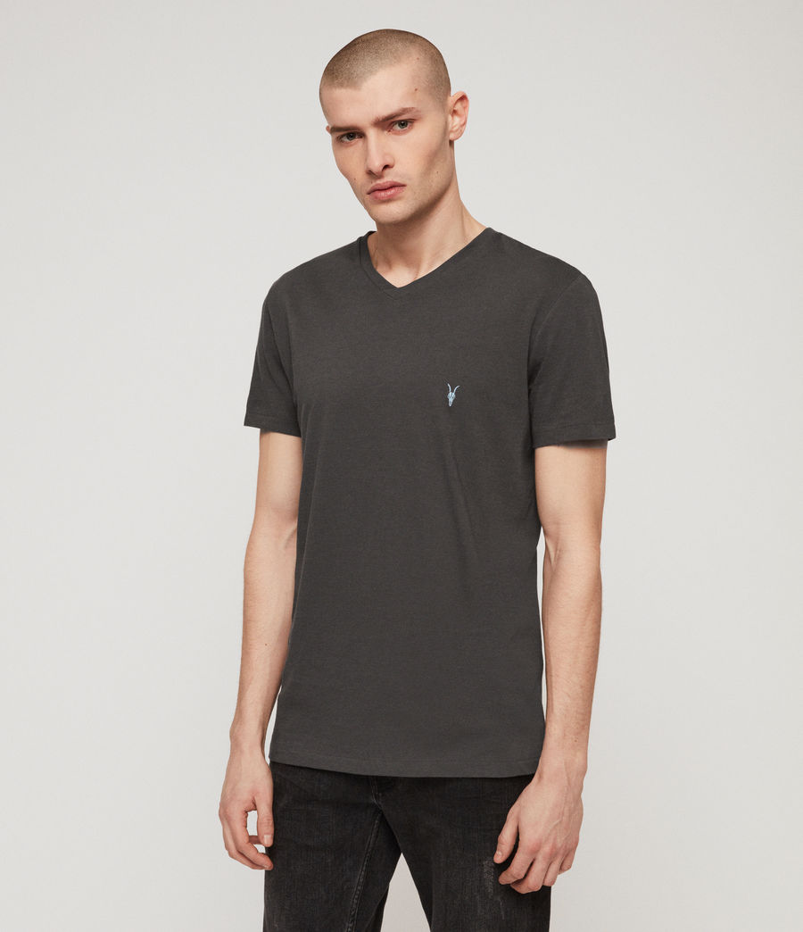 Mens Cooper V Neck T-Shirt (washed_black) - Image 1