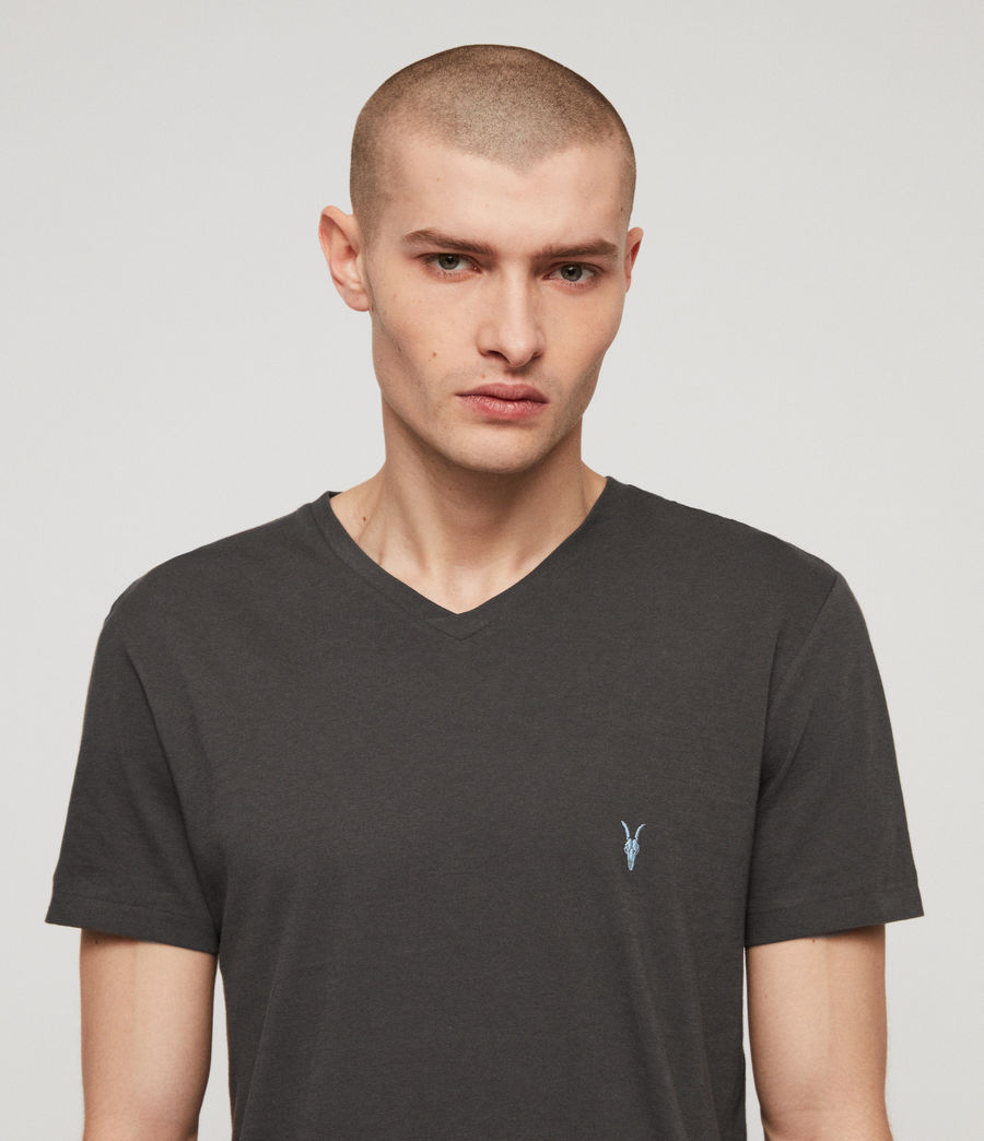 Mens Cooper V Neck T-Shirt (washed_black) - Image 2