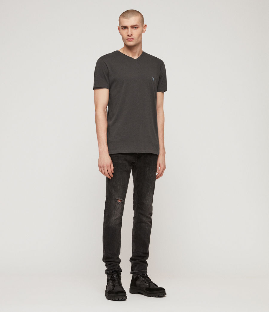 Mens Cooper V Neck T-Shirt (washed_black) - Image 3