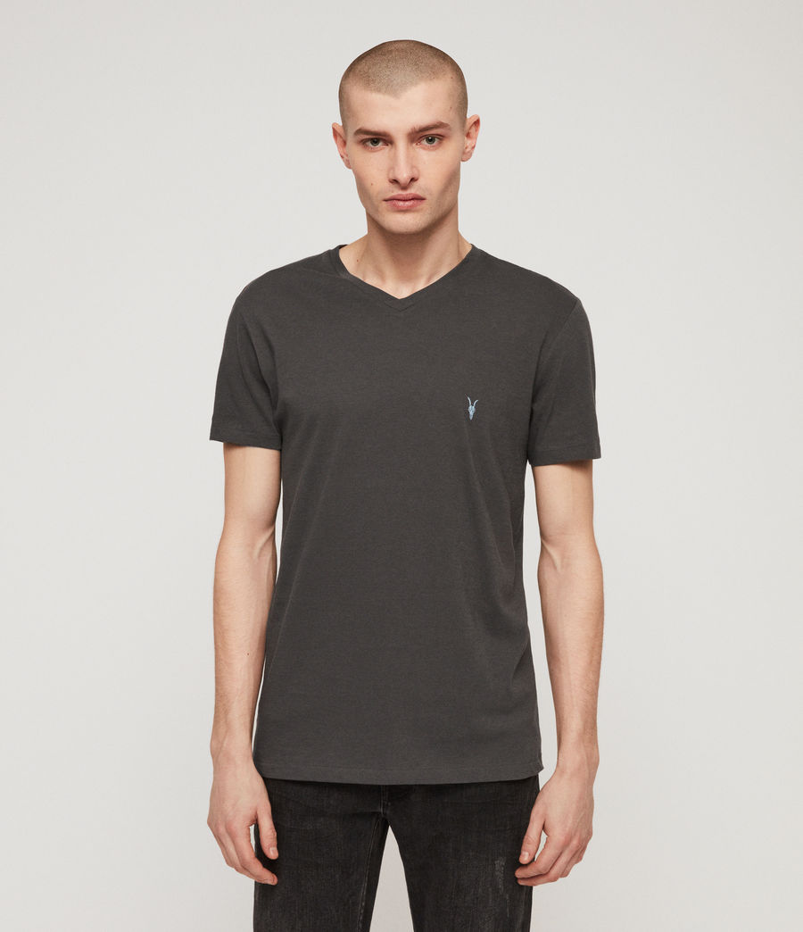 Mens Cooper V Neck T-Shirt (washed_black) - Image 4