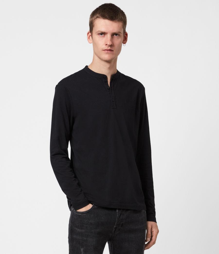 Herren Kershaw Henley Langarmshirt (jet_black) - Image 1
