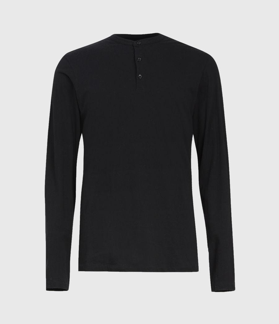 Herren Kershaw Henley Langarmshirt (jet_black) - Image 2